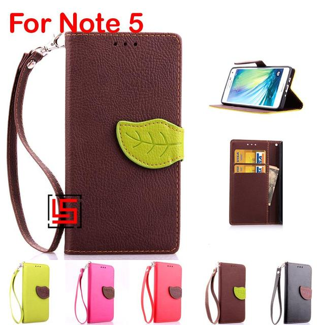 Leaf Clasp Buckle PU Leather Flip Wallet Walet Stand Phone Case kryty Cover Cove Card Holders For Samsung Galaxy Galaxi Note 5