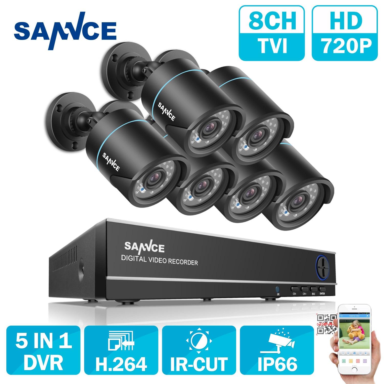 Sannce 8CH Выход ONVIF поддерживается DVR Водонепроницаемый 720 P 1.0MP Ночное видение Камера CCTV Системы наблюдения Наборы с 6 Камера s