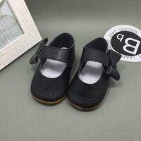 Черный Натуральная Кожа Детская Обувь Обувь для Девочек На Резиновой Подошве Дети Бантом Обувь Для Девочки Chaussure Филь Теннис Infantil 2016