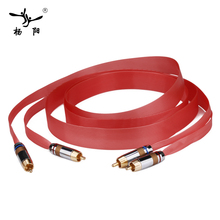 YYAUDIO Pair Nordost Hi-End Red Dawn silver Teflon Audio Speaker Cable with Gold-Plared RCA plug