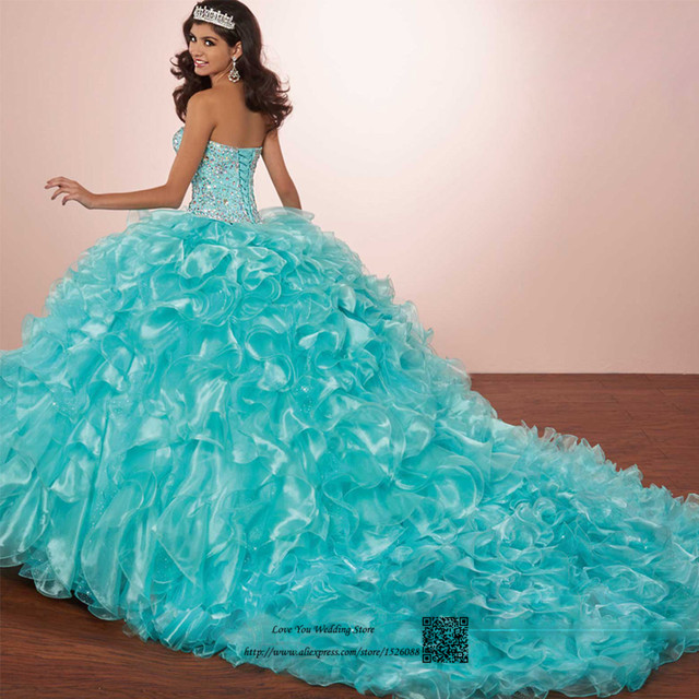 d50b4a29f Sweet 16 Dresses Vestidos de Quince 15 anos Debutante Gown Ball Gown Cheap Quinceanera  Dresses 2017 Turquoise Red Rhinestones