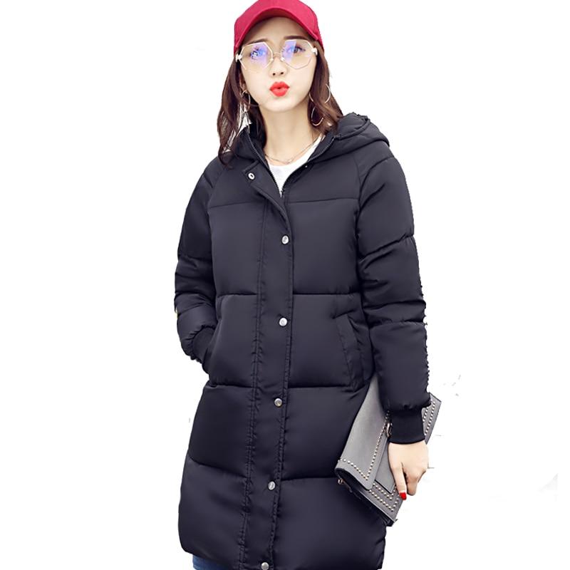 2017 hooded breast button women winter jacket ladies long cotton padded plus size coat casual warm parka chaqueta feminino