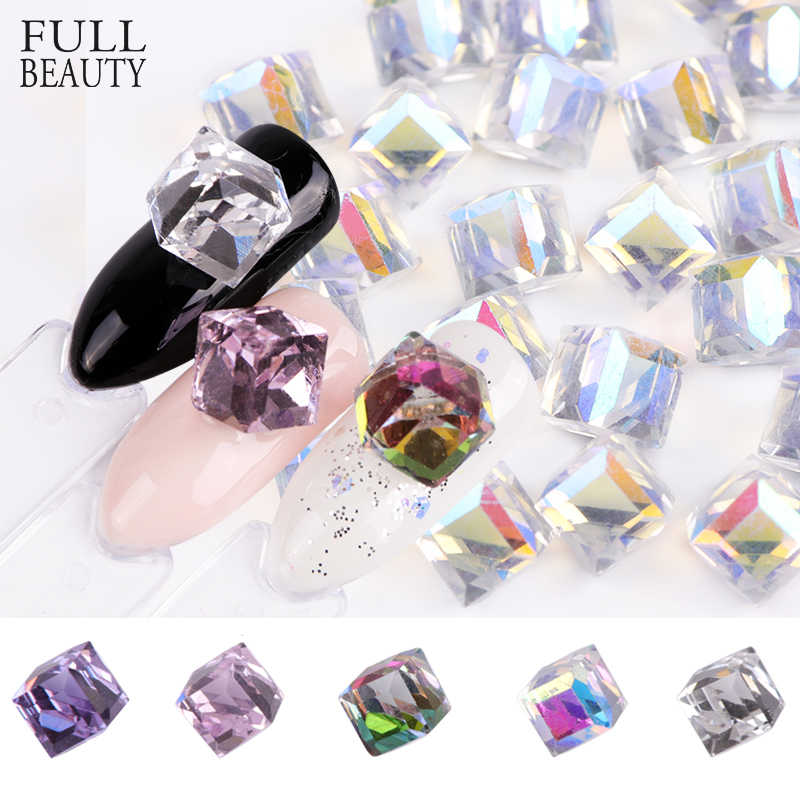 Full Beauty 10pcs Nail Crystal Rhinestones Cube Square AB Gem Stone Design Glass Charms 3D DIY Diamond Nail Art Decoration CH039