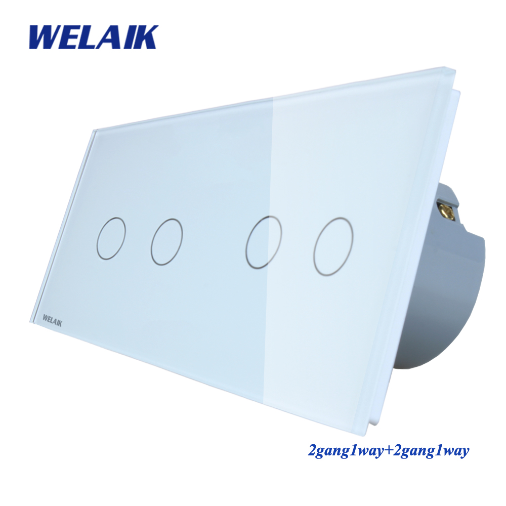 WELAIK Marque fabricant 2 Cadre Cristal Panneau de Verre Interrupteur Mural UE Tactile Interrupteur Interrupteur 2gang1way AC110 ~ 250 v a292121CW/B
