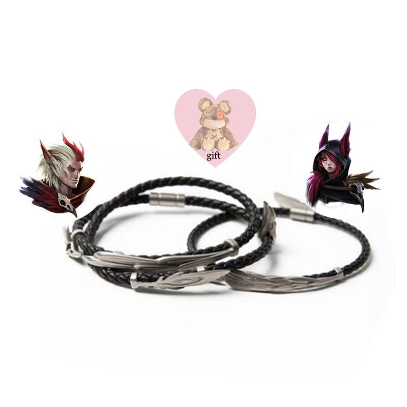 LoL ювелирные изделия, браслет Rakan и Xayah, серебро 925, очаровательные браслеты для женщин и мужчин, подарок на день Святого Валентина, рождественский подарок, бесплатный подарок - 2
