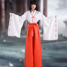 Anime Inuyasha Kikyou Cosplay Costume Miko White Short-Sleeve+Red Kendo Pants+Lengthening Belt+Bowknot+Free Shipping D