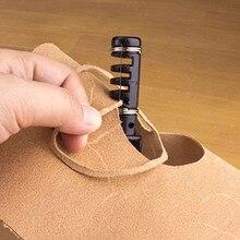 Herramienta de cuero de 6 pulgadas, cortador de mano de correa de cuero giratorio, cuchillo para cuero con 3 cuchillas, herramienta de corte de cuero artesanal, 1 ud.