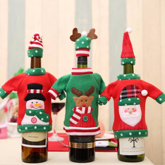 Ourwarm New Year Decoration Red Wine Bottle Cover Office Ugly Sweater Party Products Gifts Home Xmas