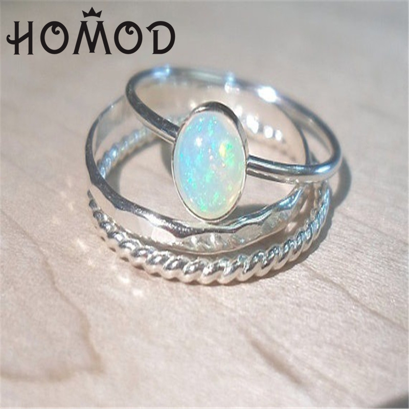 HOMOD Elegant Flower Opal Rings For Women Geometric Pattern Big Knuckle Set Bohemian Jewelry Party Gift 2019 Hot