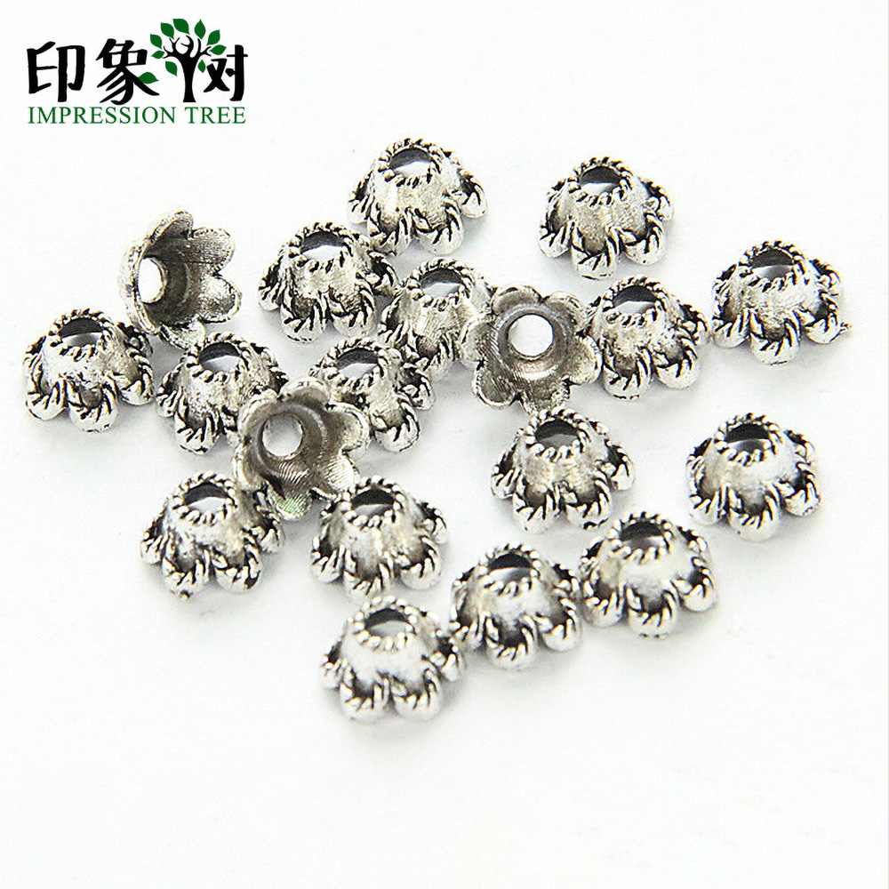Acrylic Bell Flower Beads with matching Silver Leaf Bead Caps 48 pieces