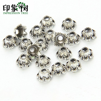 50pcs 6mm Zinc Alloy Silver Flower Star Spacer End Beads Caps Charms For Jewelry Making Bracelet Accessories 851 hot 10pcs zinc alloy plating silver plum flower deer