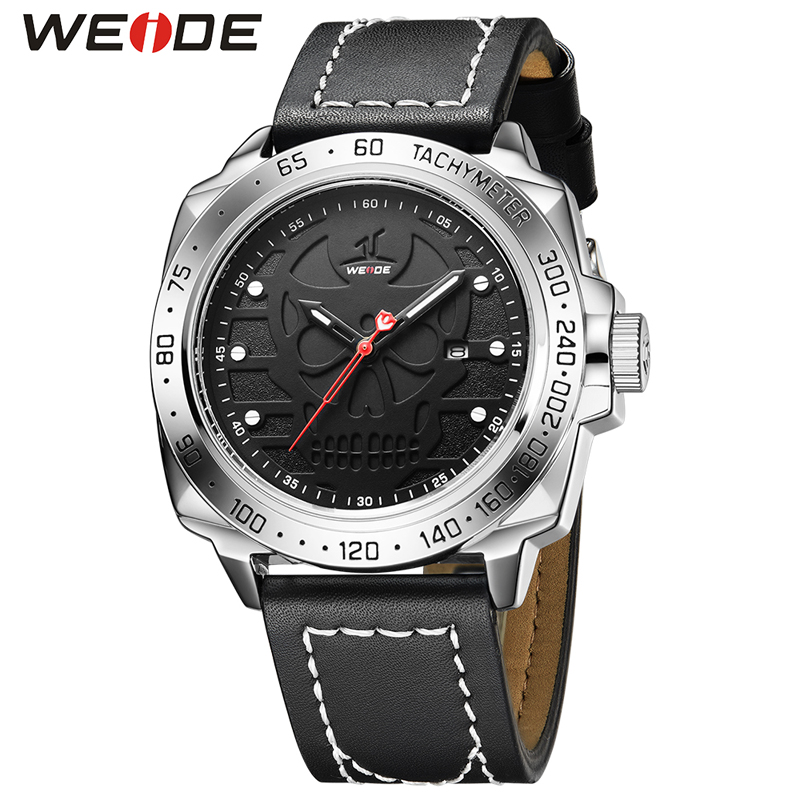 WEIDE Men's Fashion Sport Skull Watch Men Quartz Analog Clock Man Leather Military Waterproof Watch Male Clock Relogio Masculino стоимость