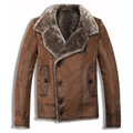 2017 Men Quality Fur Clothing Cowhide Fur Jackets Merino Sheepskin Outwear Fur Wool Lining Short Thick Genuine Leather Jackets