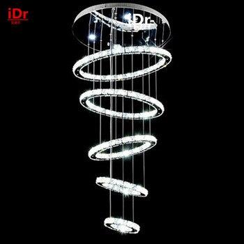 5 vòng tròn vòng Hiện Đại chất lượng cao tầng penthouse phòng khách led Đèn Chùm sáng tạo biệt thự dài thông tư ở cầu thang