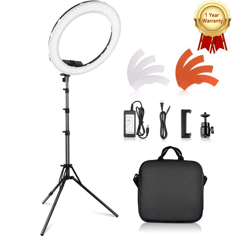 Travor 18 pouces photographie anneau lampe 55 W lampe ronde 3200 K 5500 K 240 Leds maquillage anneau lumière lampe pour caméra Photo Studio téléphone