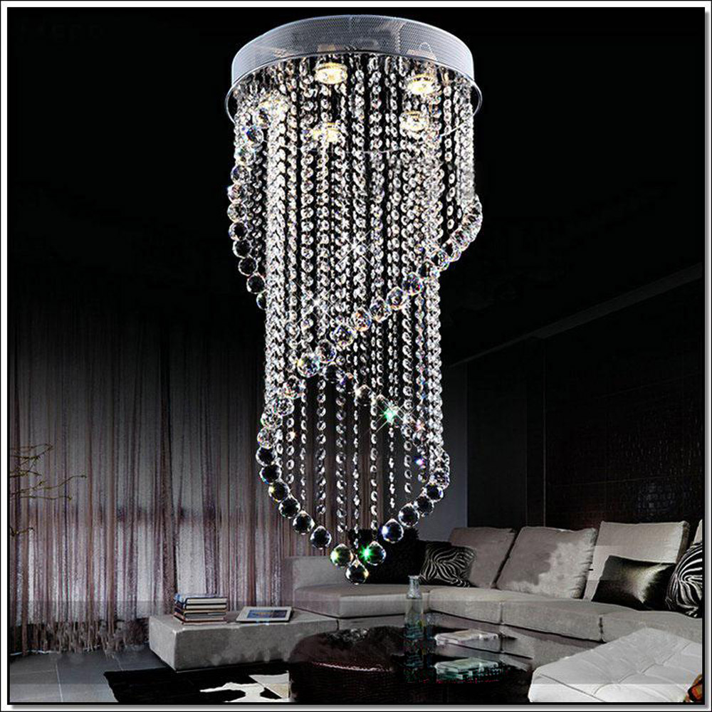 Modern crystal chandelier living room restaurant crystal curtains hanging wire double helix chandelier room bedroom lighting modern crystal chandelier led hanging lighting european style glass chandeliers light for living dining room restaurant decor