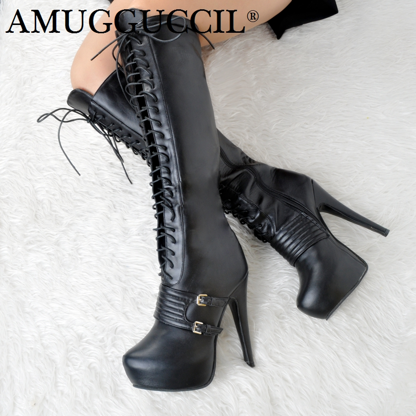 2018 New Plus Big Size 34-52 Black Buckle Zip Lace Up Knee High Heel 14.5CM Platform Autumn Girl Lady Females Womens Boots X1731 [sa] new original authentic special sales solid state relay sc869110 spot celduc 2pcs lot