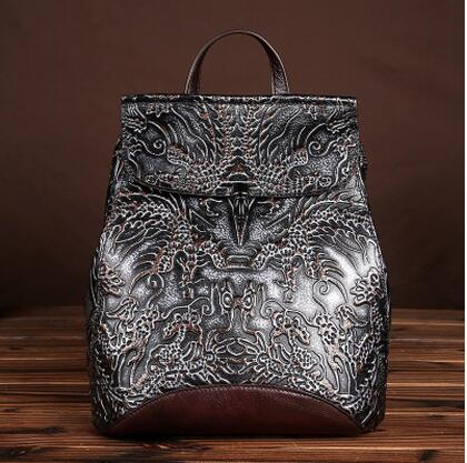 2017 new vintage hand brush fist layer cowhide women's backpack genuine leather small travel bag unisex bag bag 2016 new manual brush color restoring ancient ways head layer cowhide backpack aslant bag college small
