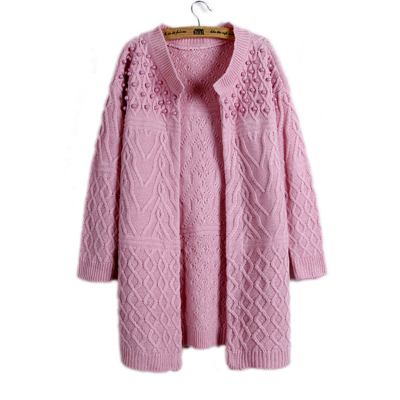 ee293c9c9 Autumn Winter Brand Design Beading O neck Long Knitted Sweaters Women coat  Elegant Casual Cardigans Knitwear-in Cardigans from Women s Clothing ...