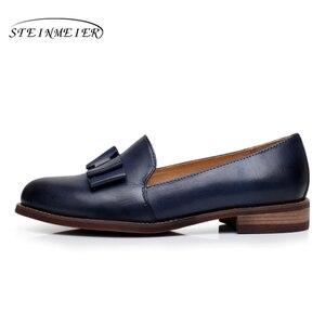 Image 2 - Yinzo kobiety mieszkania Oxford buty kobieta oryginalne skórzane buty sportowe Lady Brogues Vintage obuwie obuwie damskie 2020