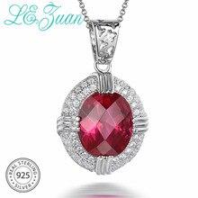 L& zuan S925 стерлингового серебра Цепочки и ожерелья с 5.26ct Красный Камень Роскошный кулон ювелирные украшения для Для женщин Рождественский подарок