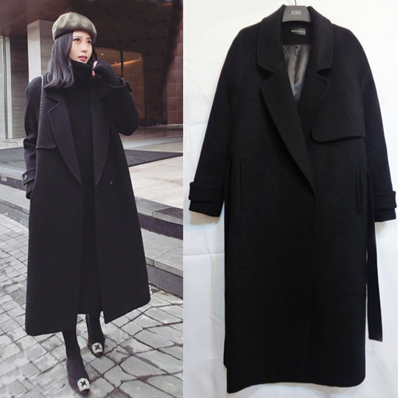2018 winter woolen coat woman winter double sided cashmere long section belt over the knees slim