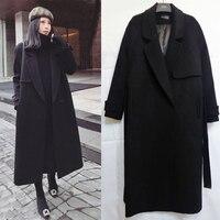 2018 winter woolen coat woman winter double sided cashmere long section belt over the knees slim woolen coat owterwear jacket