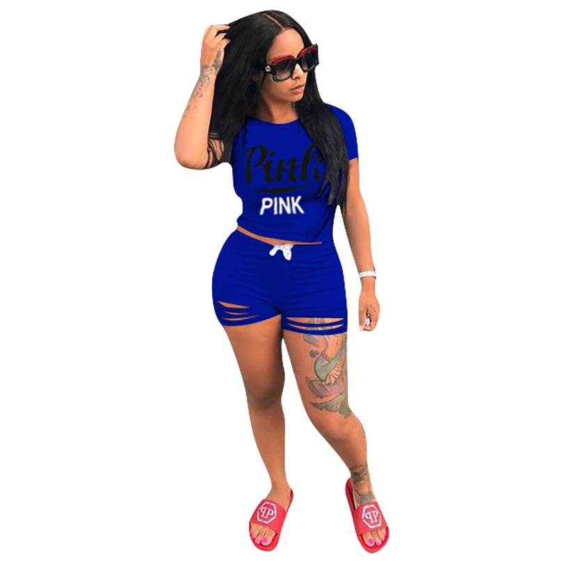 Vs Pink Women 7 Models Colour 2018 Fashion Women Track Suits 2 Pieces Bodycon Summer Short Sets Ladies Casual Hollow Out Suits