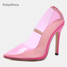 2019 new women classics super high stilettos 115mm pumps slip on pointed toe shallow pink translucent concise young ladies shoes