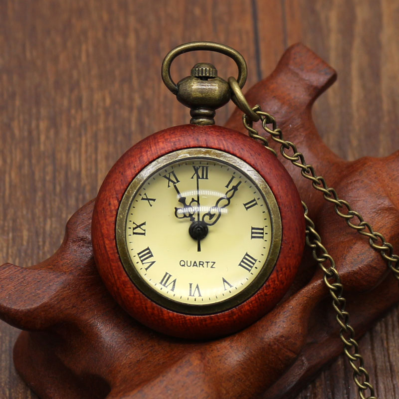 Fashion Cool Red Wooden Small Pocket Watch With Necklace Chain Free Shipping Best Gift To Women/Lady fire fighter theme old antique bronze pocket watch with chain necklace free shipping best gift to firemen