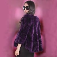 Autumn winter new 2018 tails women's rex rabbit fur coat outerwear women short O neck full sleeve fur jacket plus size S 5XL
