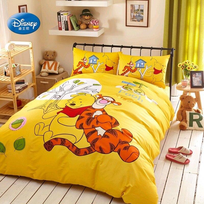 Disney Cheap Winnie and Tiger 100 Cotton Yellow Duvet Cover Set Flatsheet Pillowcases Bedlinen for Children