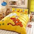 Disney дешевые Винни и тигр 100% хлопок желтый пододеяльник набор плоский лист наволочки постельное белье для детей 1 2 м 1 5 м кровать