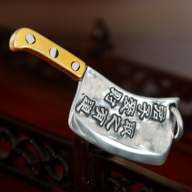 990 argent couteau de cuisine richesse collier pendentif belle
