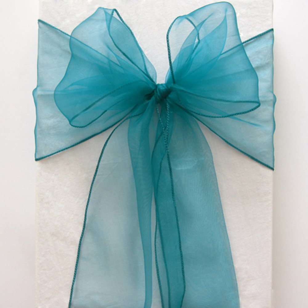 100pcs Teal Blue Wedding Chair Cover Ties Crystal Organza Chair Bow Sashes For Party Event Banquet