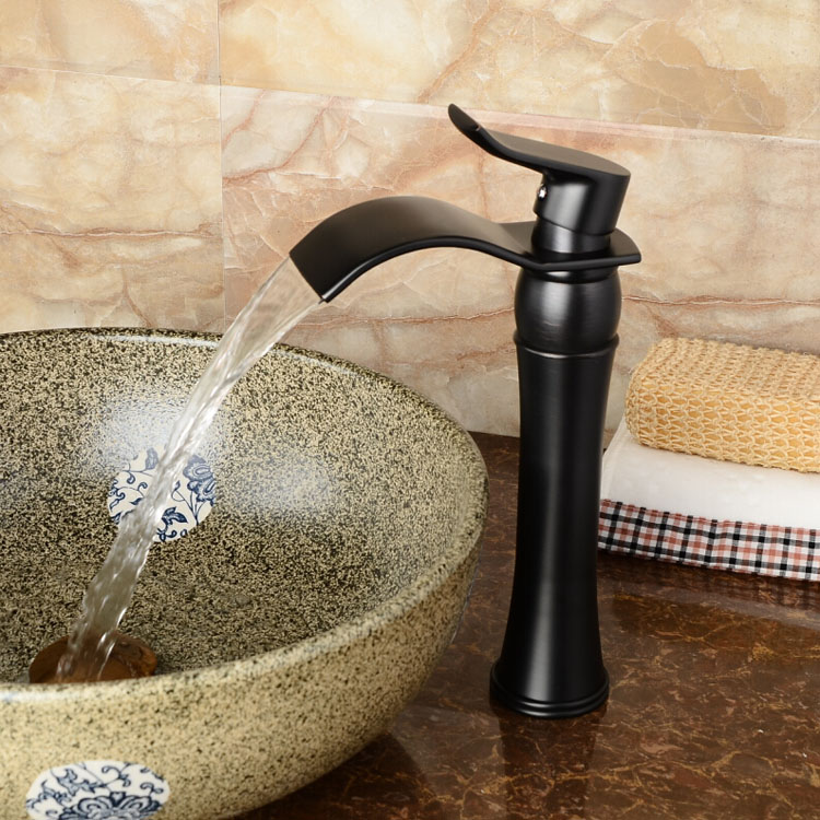 High quality Oil Rubbed Bronze Waterfall Bathroom Basin Faucet Single Handle Sink Mixer Tapgrifo para lavabo