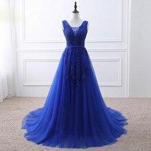 Gardenwed Royal Blue Slight Evening Dress 2019 de gala A line V neck Tulle Appliques Beaded abiye Formal Dresses abendkleider