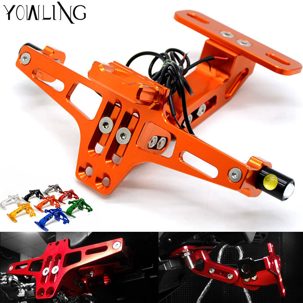 Motorcycle Adjustable License Number Plate Bracket Frame Holder for KTM 690 Duke/SMC/SMCR 690 Enduro R 690 SMC/SMC-R/Duke/Duke R universal motorcycle adjustable angle aluminum license number plate frame holder bracket for ktm duke 200 390 sx f exc f 85 sx