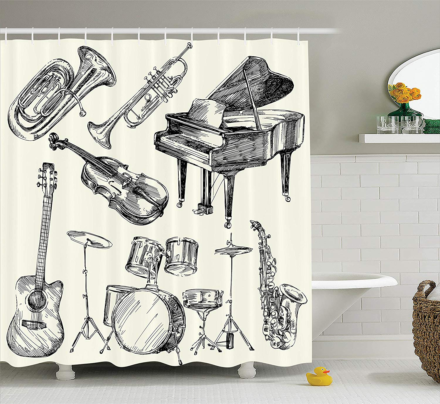 US $12 61 OFF Music Decor Shower Curtain Set Collection Of Musical Instruments Sketch Style Art With Trumpet Piano Guitar Bathroom