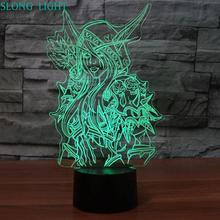 3d Lamp World Of Warcraft Children's Night Light Led Bedroom Decor Holiday Gift Wow Sylvanas Windrunner Kids Night Lamp USB стоимость