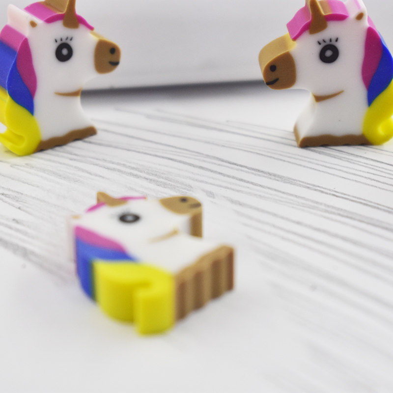 4 Pcs/lot Novelty Mini Animal Dessert Erasers Cartoon Cute Unicorn Pencil Eraser For Kids Toys Gift Office School Supplies