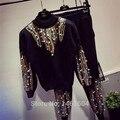 2016 de inverno/outono 2 peça Conjunto de roupas Das Mulheres marca de luxo pérola Rebite paetês cc camisola + Calças basculador treino sportswear