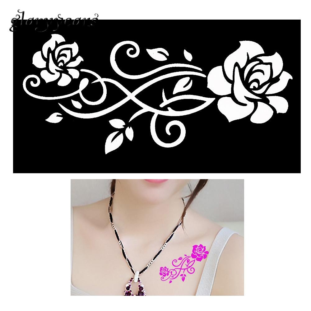 1 Piece Indian Henna Tattoo Stencil Rose Flower Design Women DIY Back Body Art Airbrush Painting Small Henna Tattoo Stencil G152