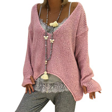 a29a73c2aa6 Women V Neck Knitted Sweaters Pullover Autumn Winter Irregular Oversized  Crochet Sweater Pink Jumper Female Loose