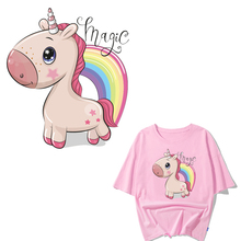 Cute Unicorn Patch Iron on Transfer Letter Patches for Girl Clothing DIY T-Shirt Applique Heat Transfer Vinyl Ironing Stickers iron on heart mouse patches for kids girl clothing diy t shirt dresses applique heat transfer vinyl thermo letter patch stickers