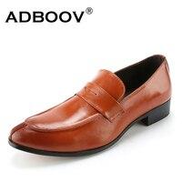 ADBOOV Màu Rắn Penny Đi Rong Nam Giày Da Trượt On Mens Shoes Casual Zapatos Hombre Black/Red/Brown