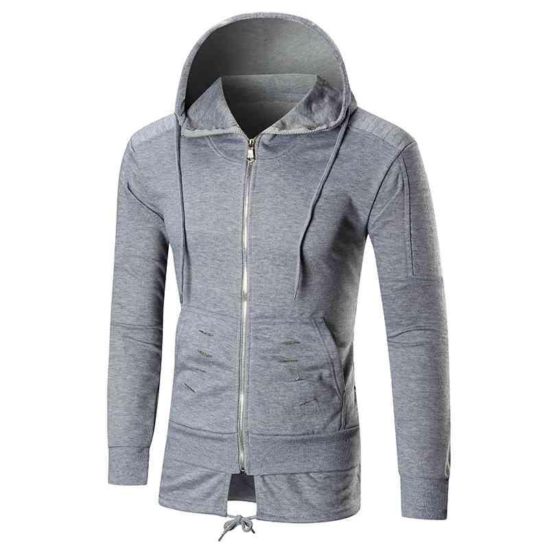#8108 Fall/winter coat 2018 Pleated Ripped European size Longer hoodie sweatshirt Fashion Hip hop Moleton masculino Streetwear