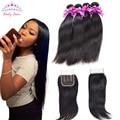 "Brazilian Virgin Hair With Closure 3 Bundles Brazilian straight hair with closure 4""x4 "" Lace Closure With Bundles human hair"