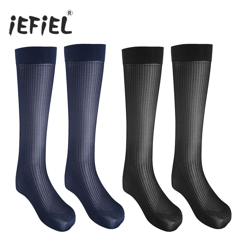 2 Pairs Mens Striped Thin Breathable Over-the-Calf Crew Business Silk Socks