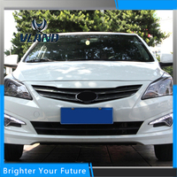 2Pcs ABS LED Daytime Running Lights For Hyundai Verna Accent 2014 2015 White Yellow Turn Signal